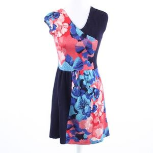 Navy blue red floral LEIFSDOTTIR sheath dress PS